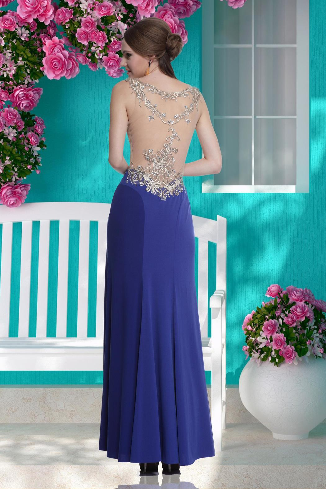 For You Dress Formal Sheer Embroidered Dress - Front Full Image