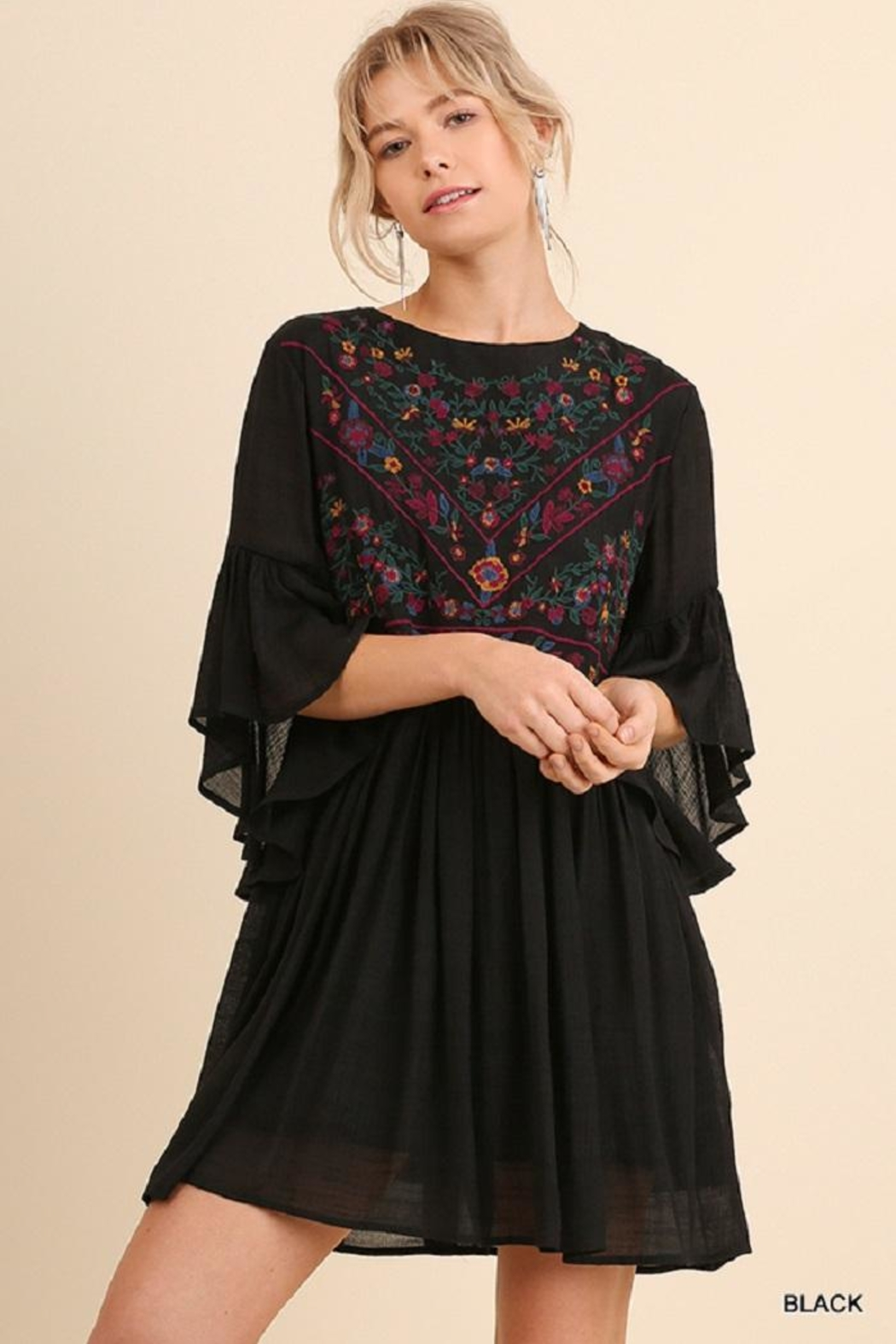 Umgee USA Foral Flow Dress - Front Cropped Image