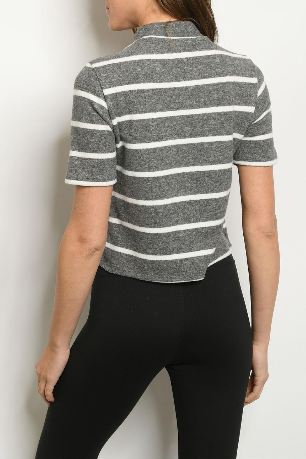 FORE Charcoal Ivory-Striped Top - Front Full Image