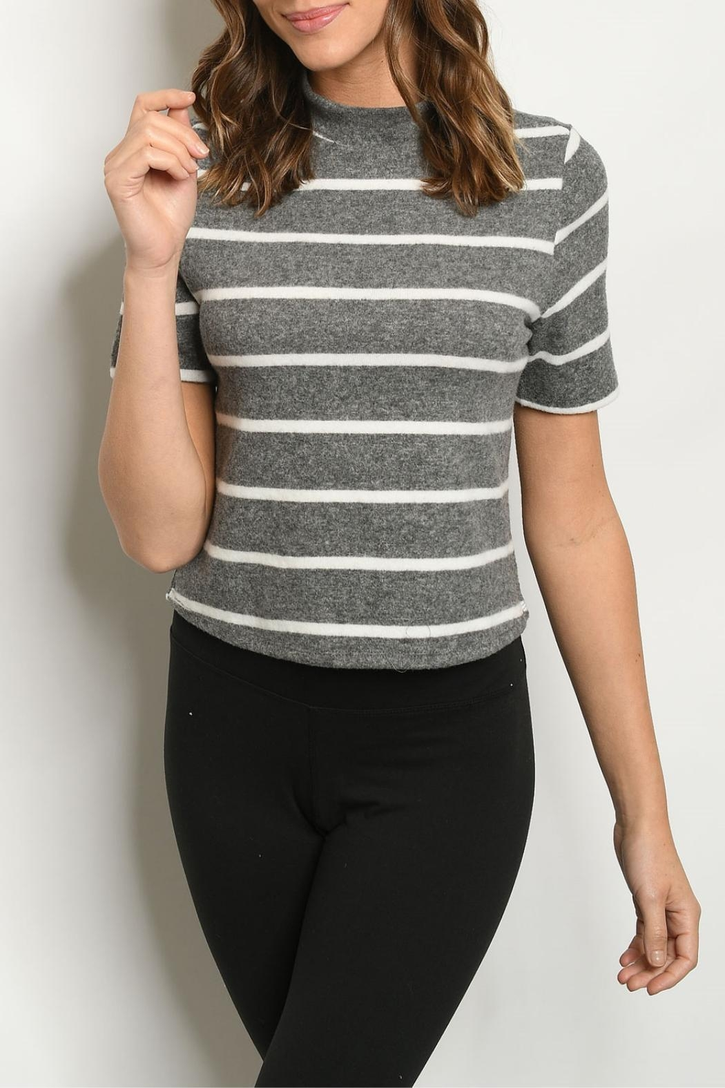 FORE Charcoal Ivory-Striped Top - Main Image
