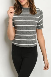 FORE Charcoal Ivory-Striped Top - Front cropped
