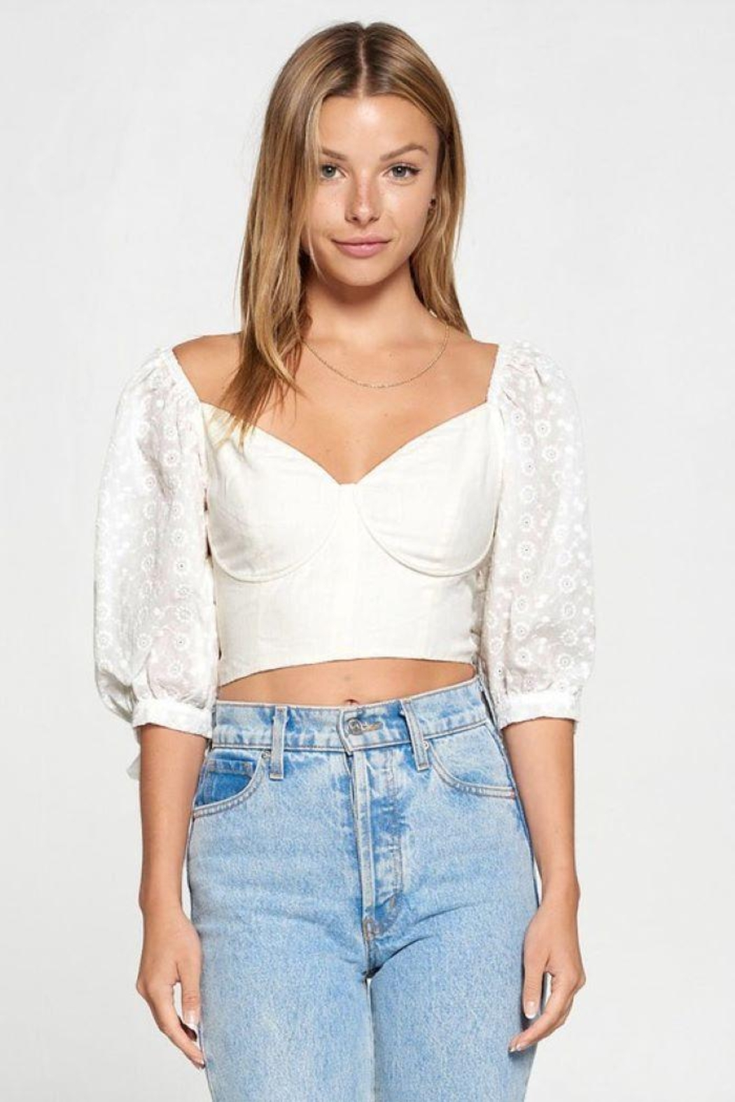 Fore Collection Crochet Sleeve Open Back Top - Main Image