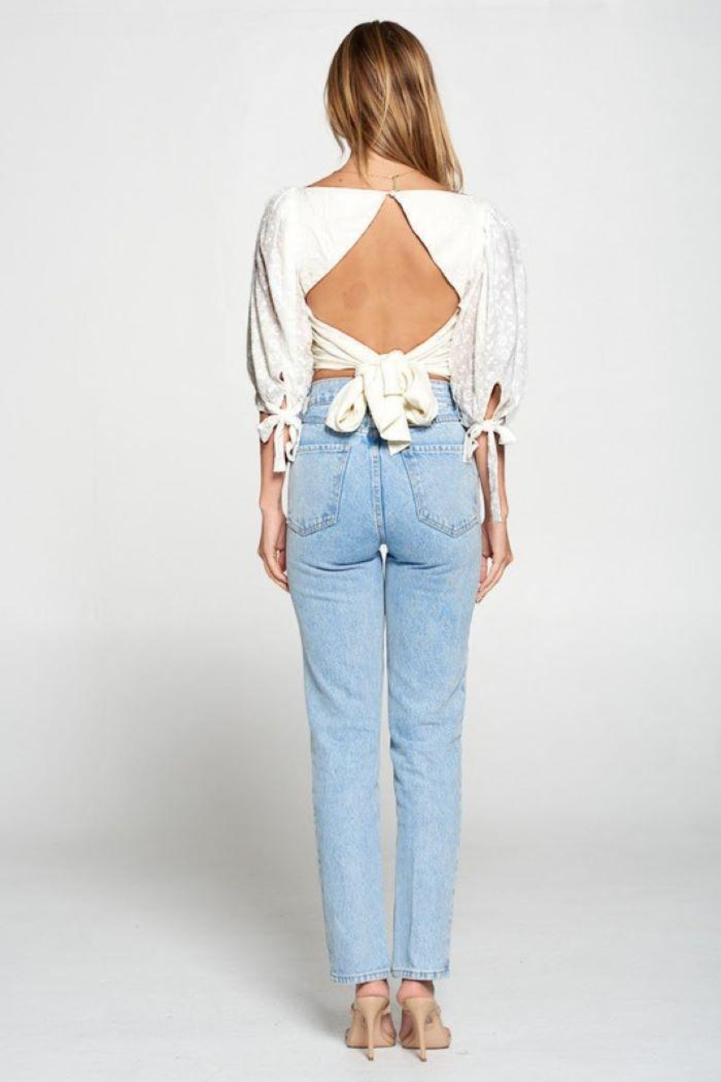 Fore Collection Crochet Sleeve Open Back Top - Side Cropped Image