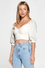 Fore Collection Crochet Sleeve Open Back Top - Other