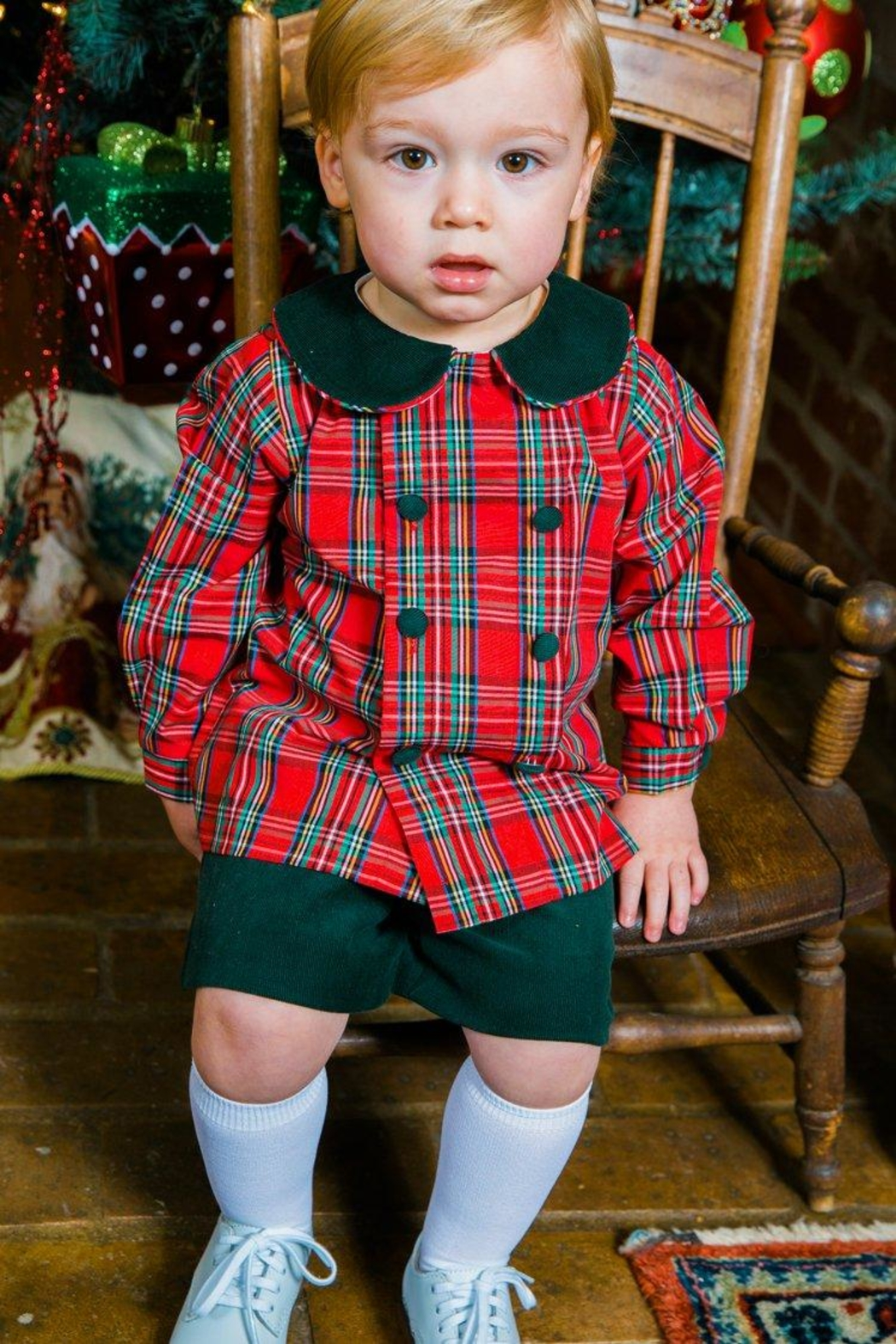 Bailey Boys Forest Corduroy/tartan-Plaid Dressy-Short-Set - Front Full Image
