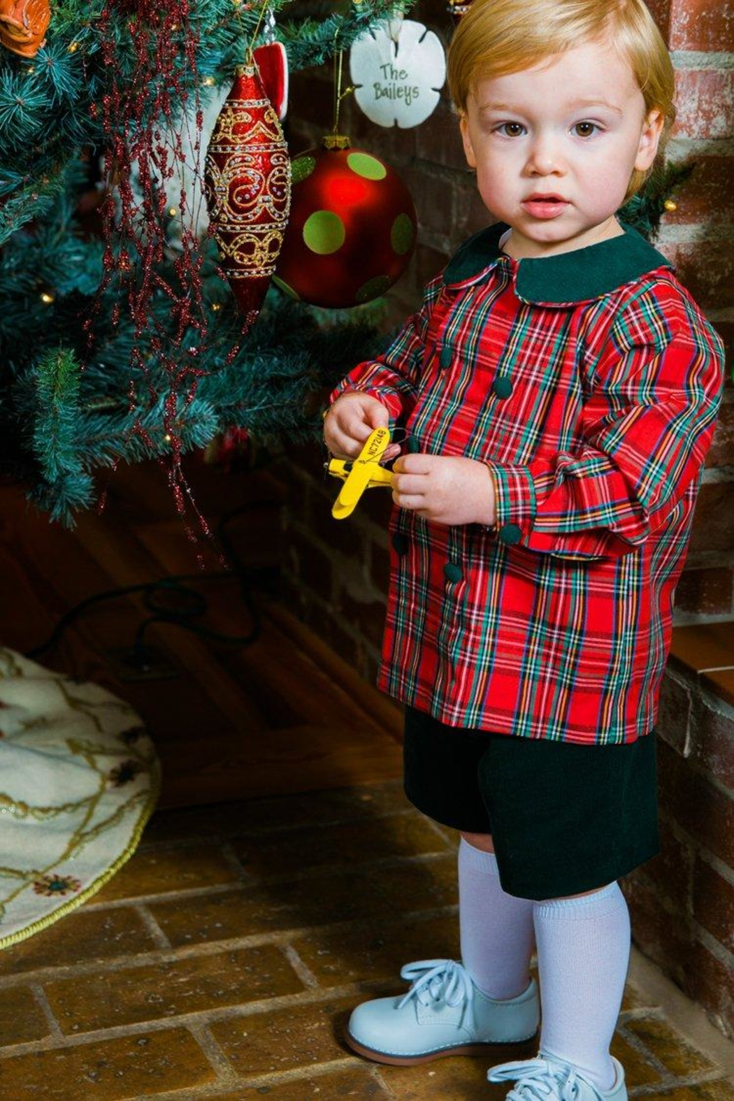 Bailey Boys Forest Corduroy/tartan-Plaid Dressy-Short-Set - Back Cropped Image