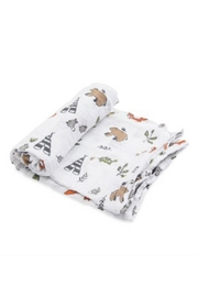 Little Unicorn Forest-Friends Cotton Swaddle - Front cropped