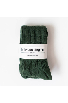 Little Stocking Co Forest Green Cable Knit Tights - Alternate List Image