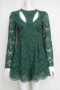 Shoptiques Product: Forest-Green Floral-Embroidered Romper