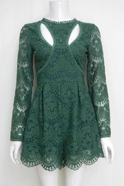 Selfie Leslie Forest-Green Floral-Embroidered Romper - Product Mini Image