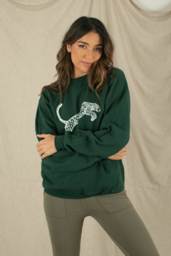 Space 46 Forest Green Panther printed Sweatshirt - Alternate List Image