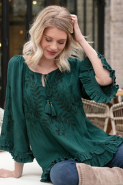 Tru Luxe Forest Green Ruffle Blouse - Product Mini Image
