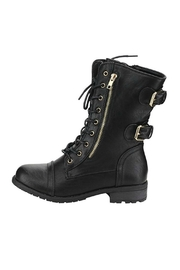 Forever Black Combat Boots - Front cropped