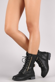Forever Black Combat Boots - Front full body