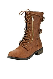 Forever Brown Combat Boots - Product Mini Image
