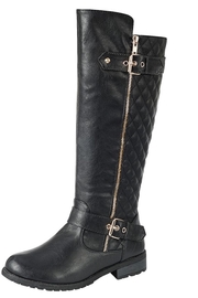 Forever Quilted Black Boots - Front cropped