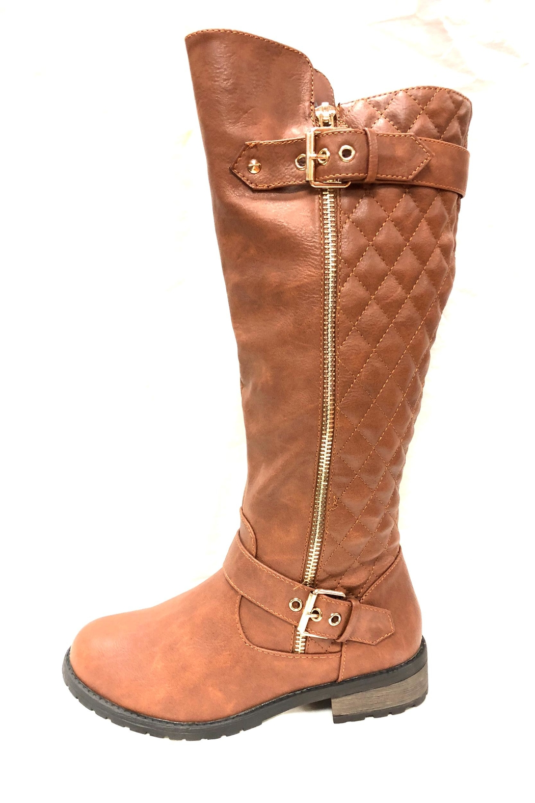 Forever Quilted Tan Boots - Main Image