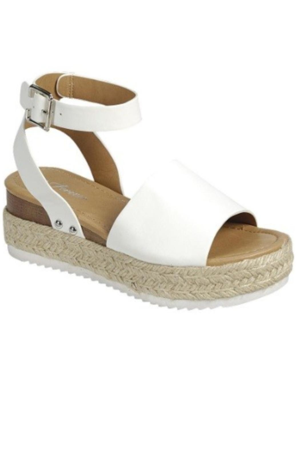 Forever White Espadrille Sandal - Front Cropped Image