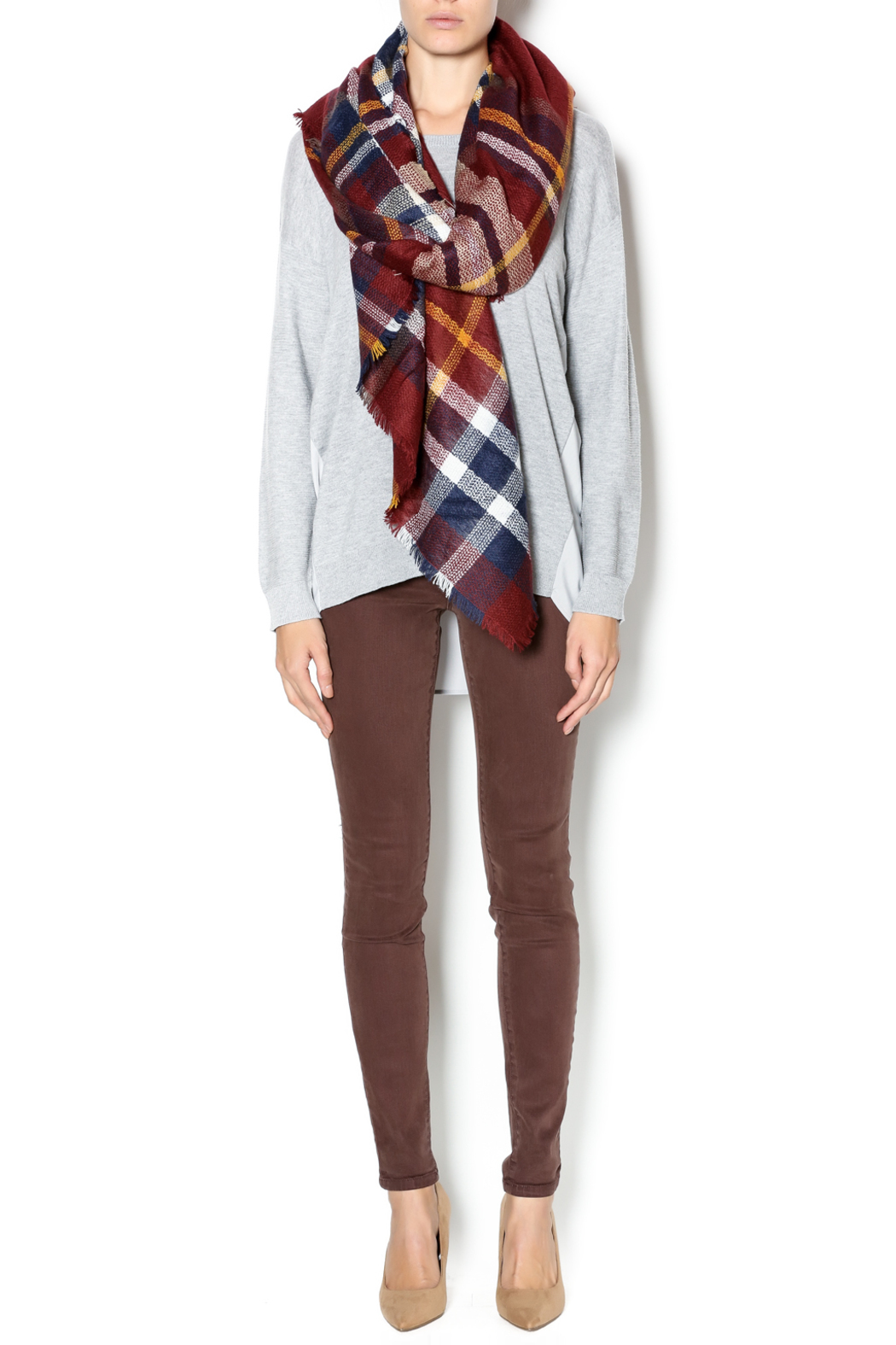 Fort Greene General Store Cranberry Plaid Blanket Scarf - Main Image
