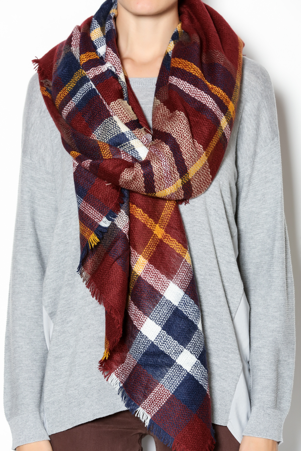Fort Greene General Store Cranberry Plaid Blanket Scarf - Back Cropped Image