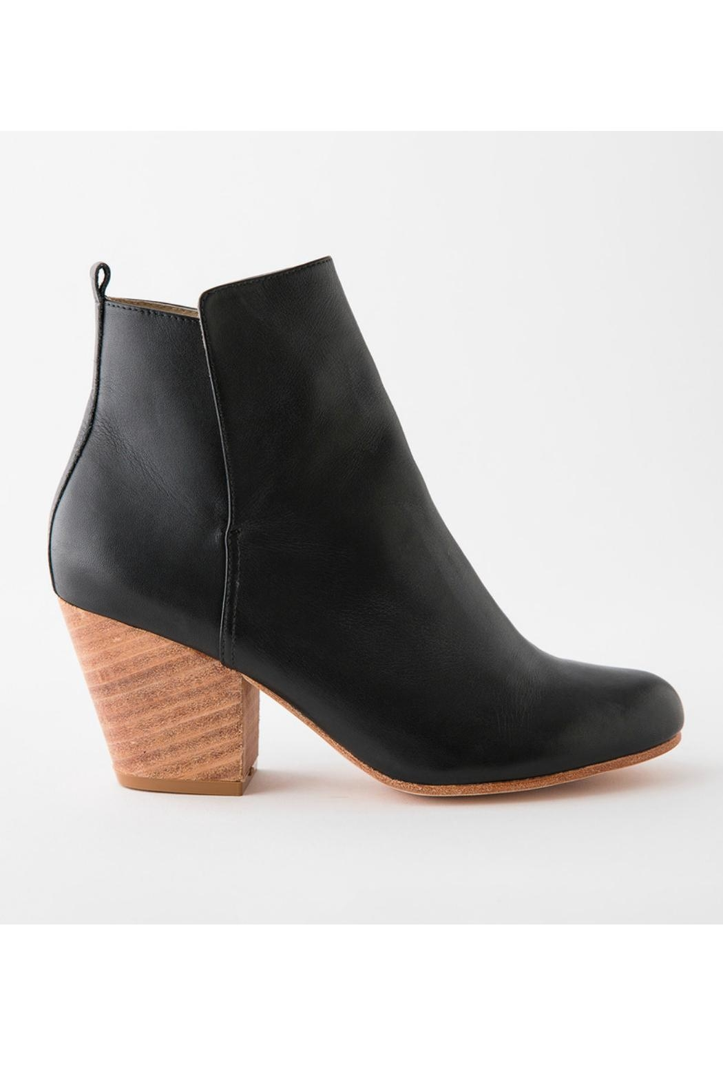Fortress of Inca Black Leather Bootie - Front Full Image