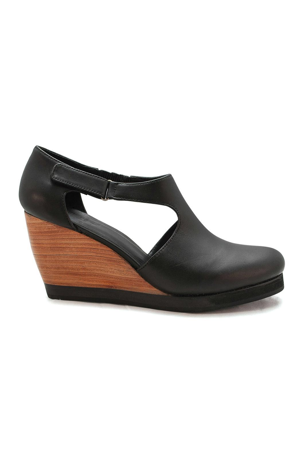 Fortress of Inca Black Leather Wedge - Front Full Image