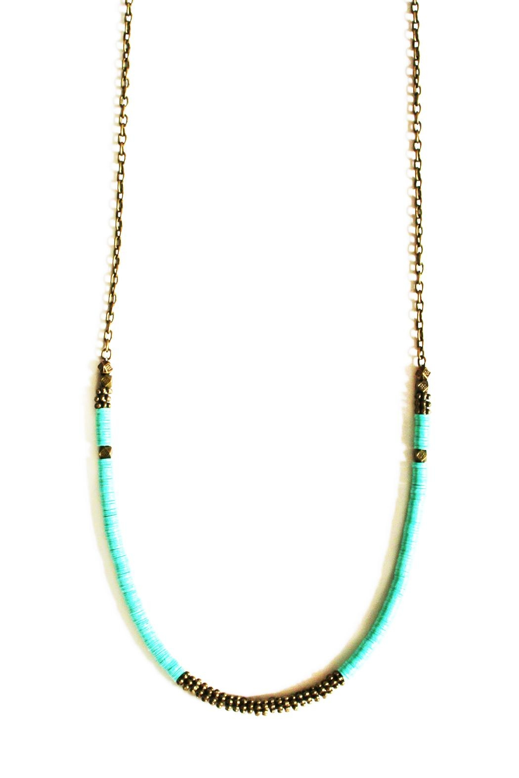 Fortune Aqua Brass Necklace - Front Cropped Image