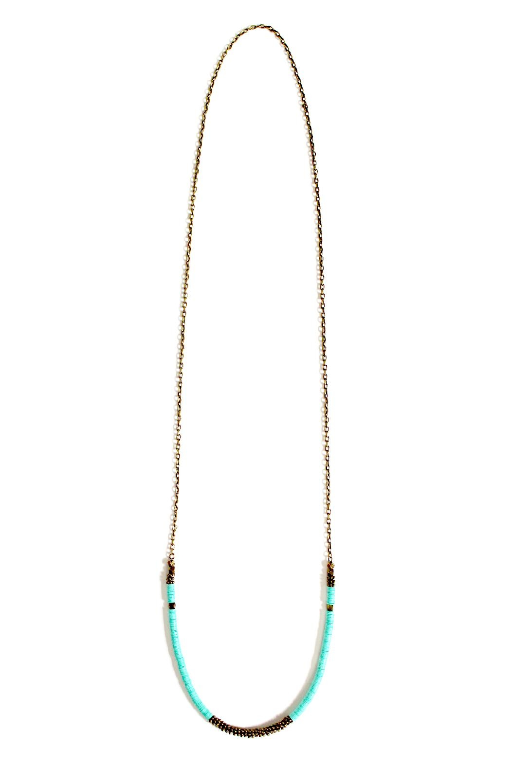 Fortune Aqua Brass Necklace - Back Cropped Image