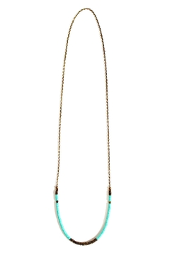 Fortune Aqua Brass Necklace - Alternate List Image