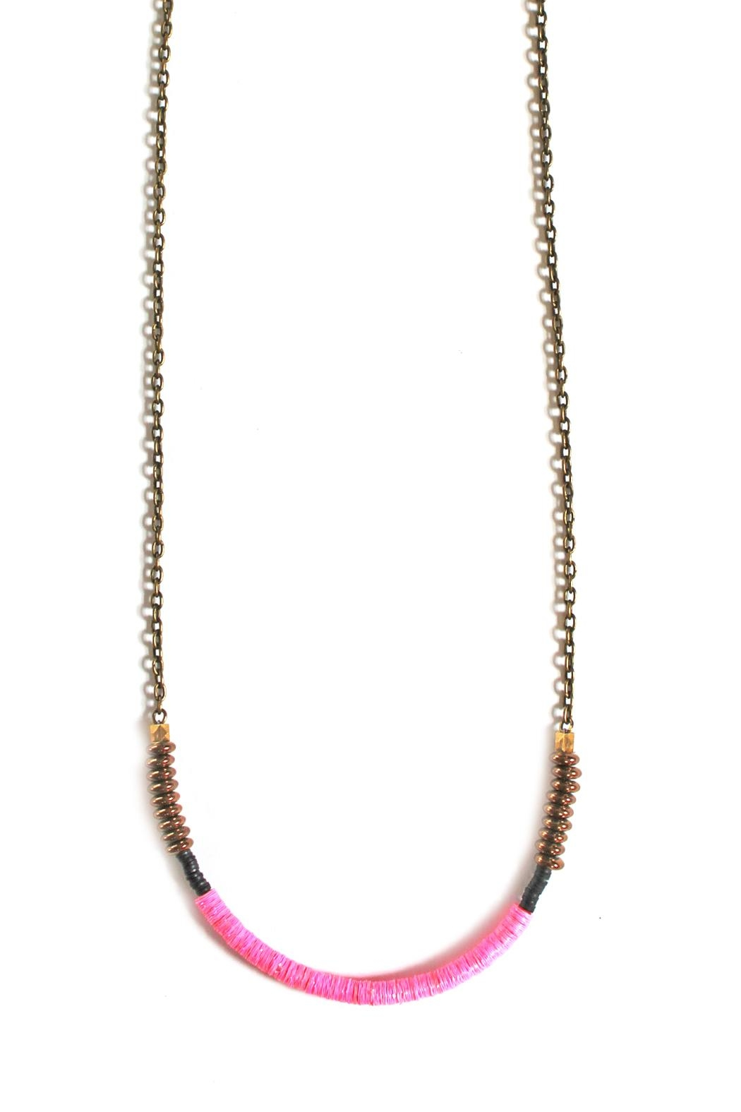 Fortune Pink Brass Necklace - Main Image
