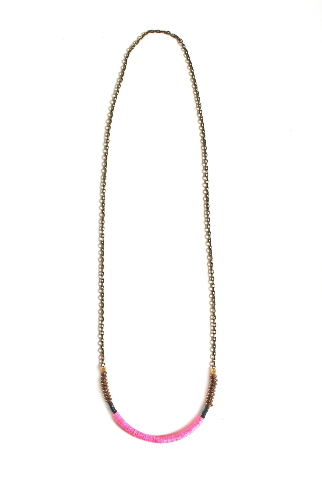 Fortune Pink Brass Necklace - Front Full Image