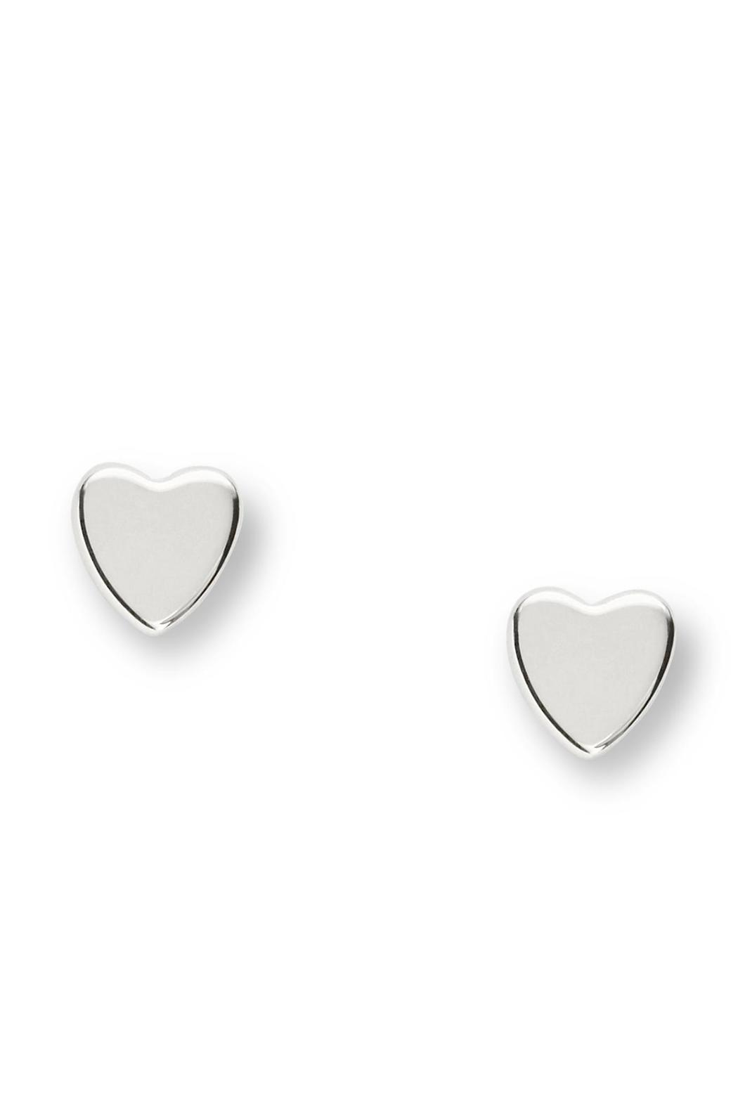 Fossil Heart Studs Silver - Main Image