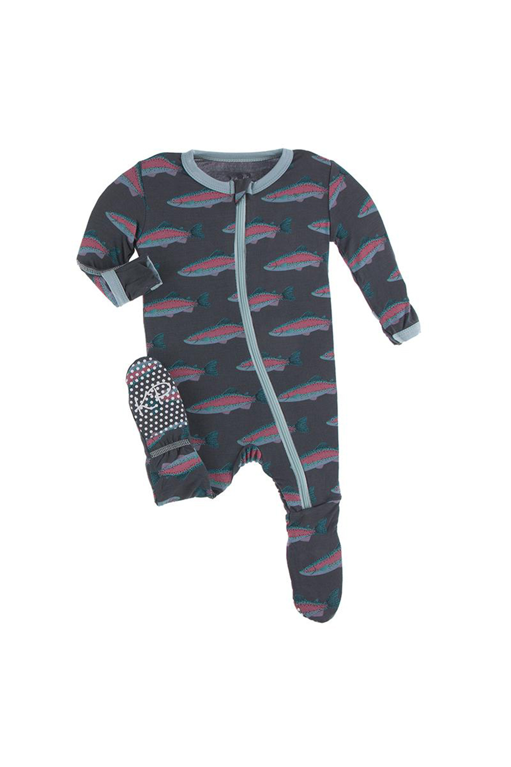 Kickee Pants Footie With Zipper - Stone Rainbow Trout - Main Image