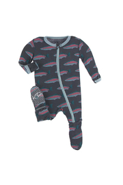 Kickee Pants Footie With Zipper - Stone Rainbow Trout - Front cropped