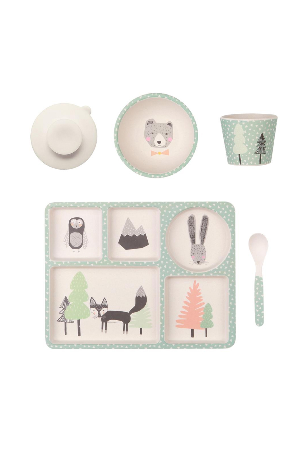 Love Mae Fox and Friends Divided Plate Set - Main Image