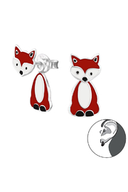 Silver Jewels Fox Silver Double Earrings - Product Mini Image