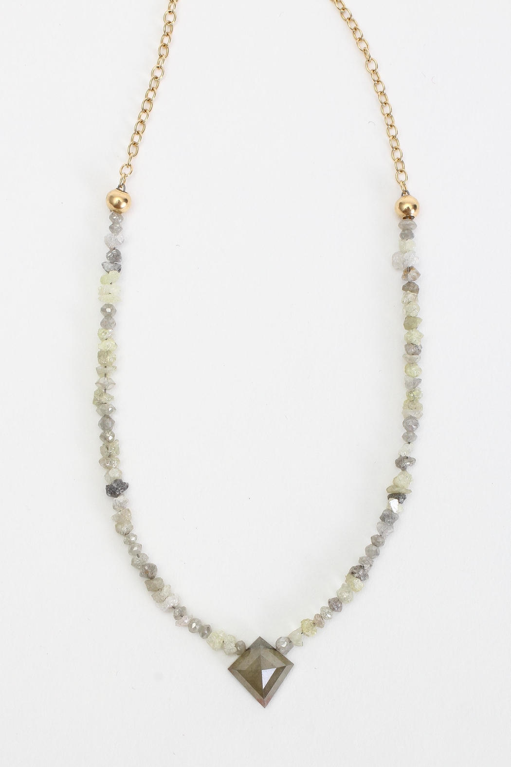 Fox and Beaux Raw Diamond Necklace - Front Full Image