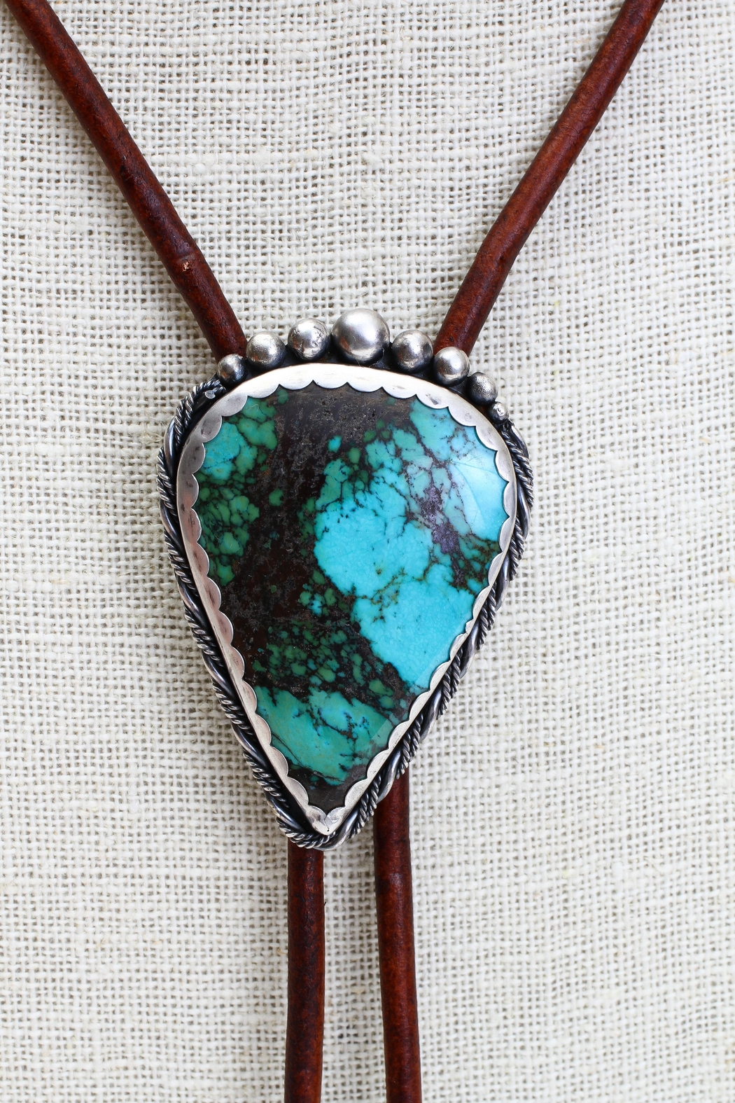 Fox and Beaux Turquoise Bolo Tie - Front Full Image