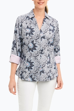 Foxcroft Navy Floral Shirt - Product List Image