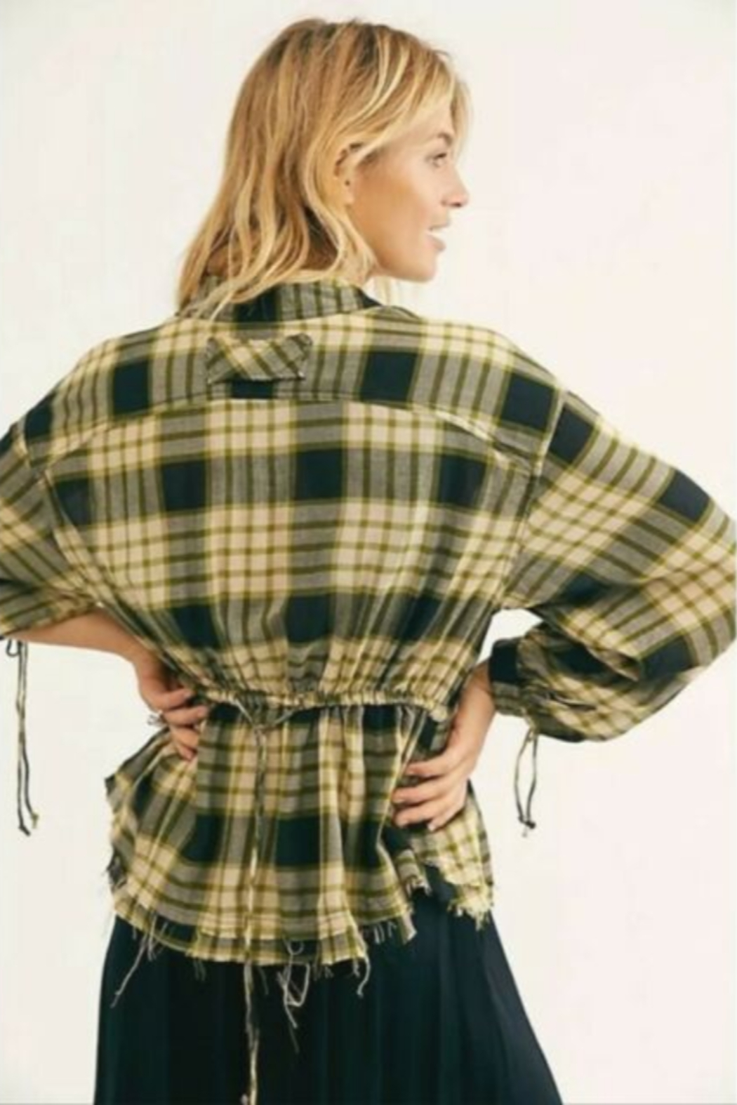 Free People Black Combo Plaid Ruched-Sleeve Pacific Shirt - Side Cropped Image