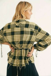 Free People Black Combo Plaid Ruched-Sleeve Pacific Shirt - Side cropped