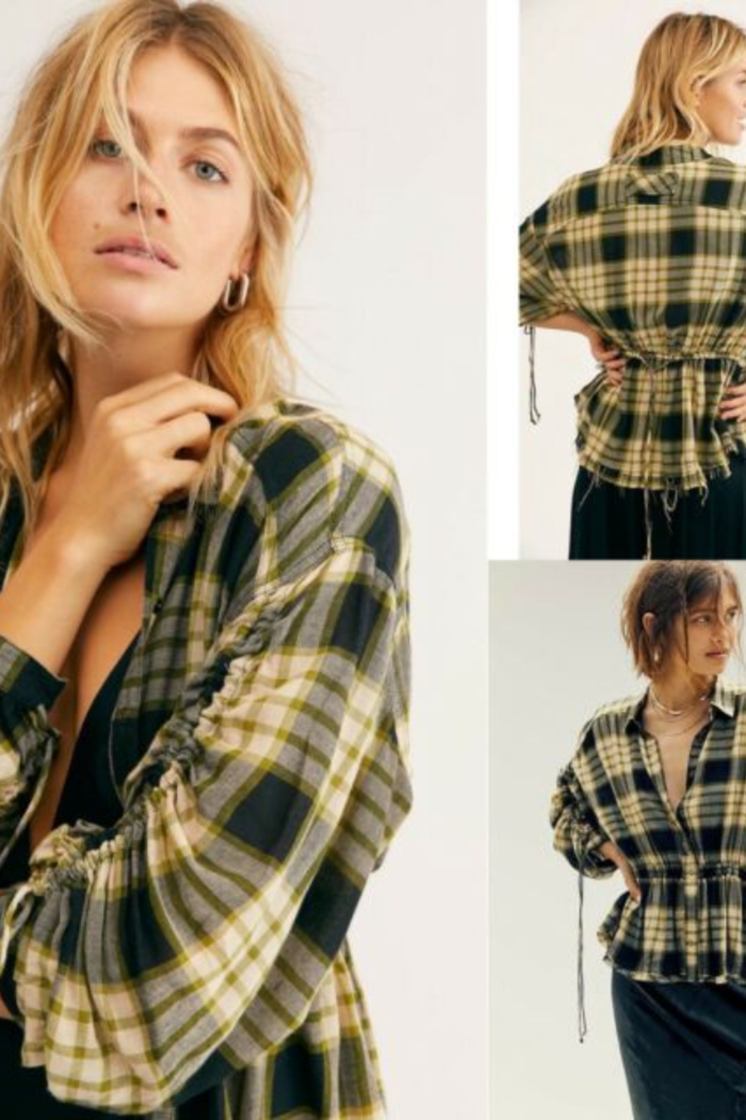 Free People Black Combo Plaid Ruched-Sleeve Pacific Shirt - Front Full Image