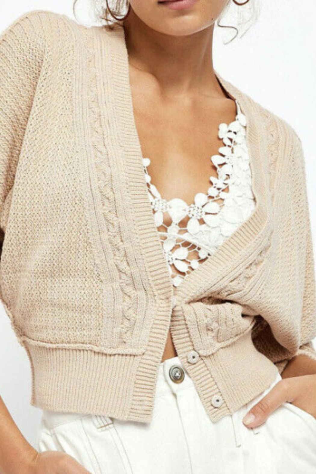 Free People FP Cardigan in Soft Pink - Main Image