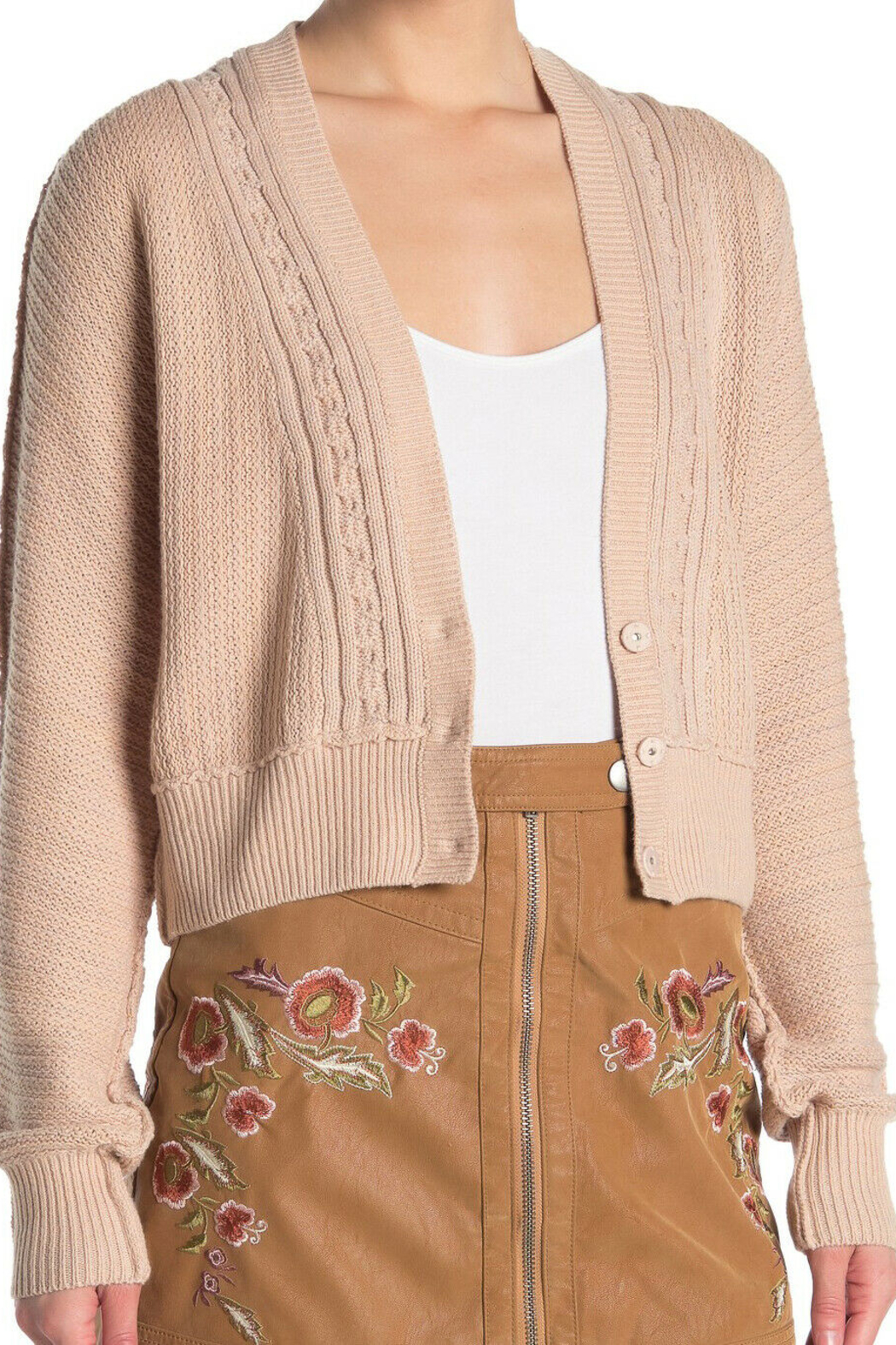 Free People FP Cardigan in Soft Pink - Side Cropped Image