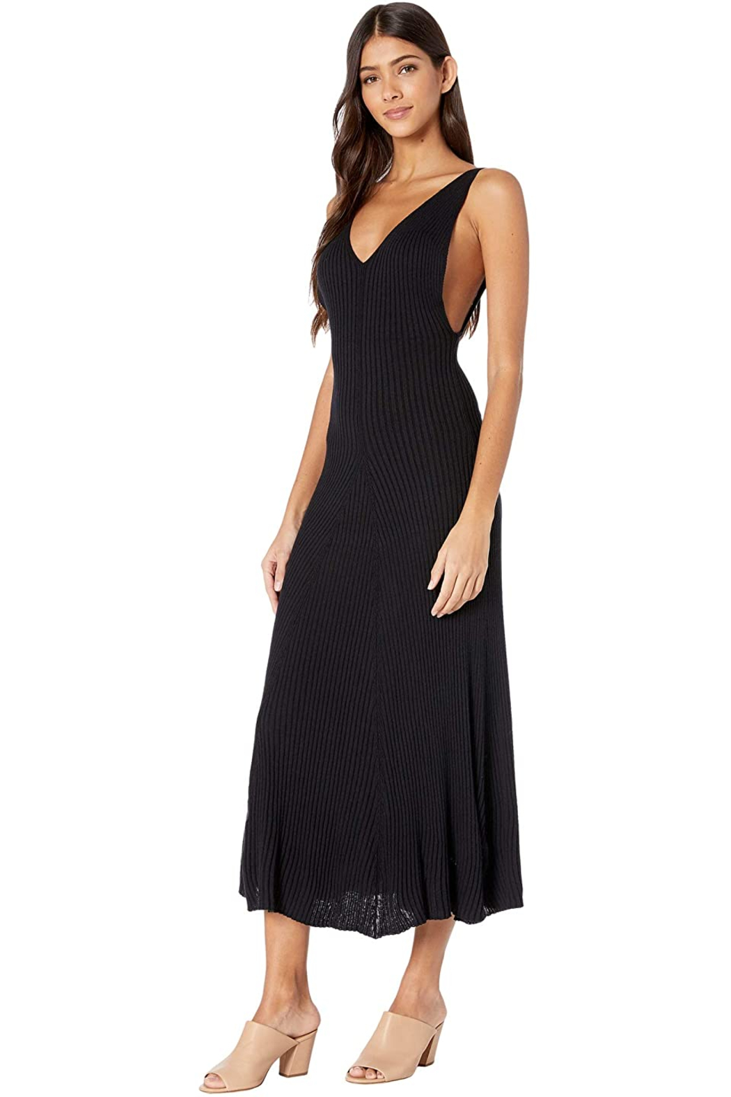 Free People Sweet Slip Dress in Black - Front Cropped Image