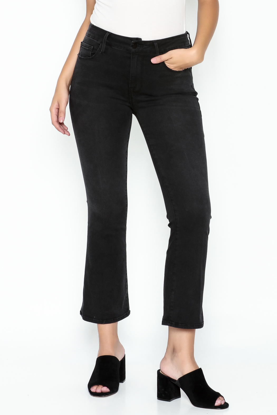 FRAME Denim Black Cropped Flare Jeans from New York City by Jessie ...