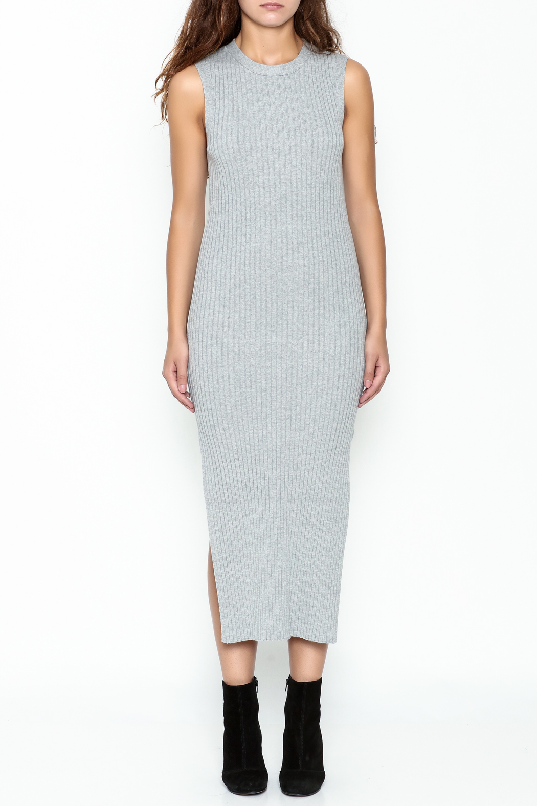 FRAME Denim Grey Ribbed Dress - Front Full Image