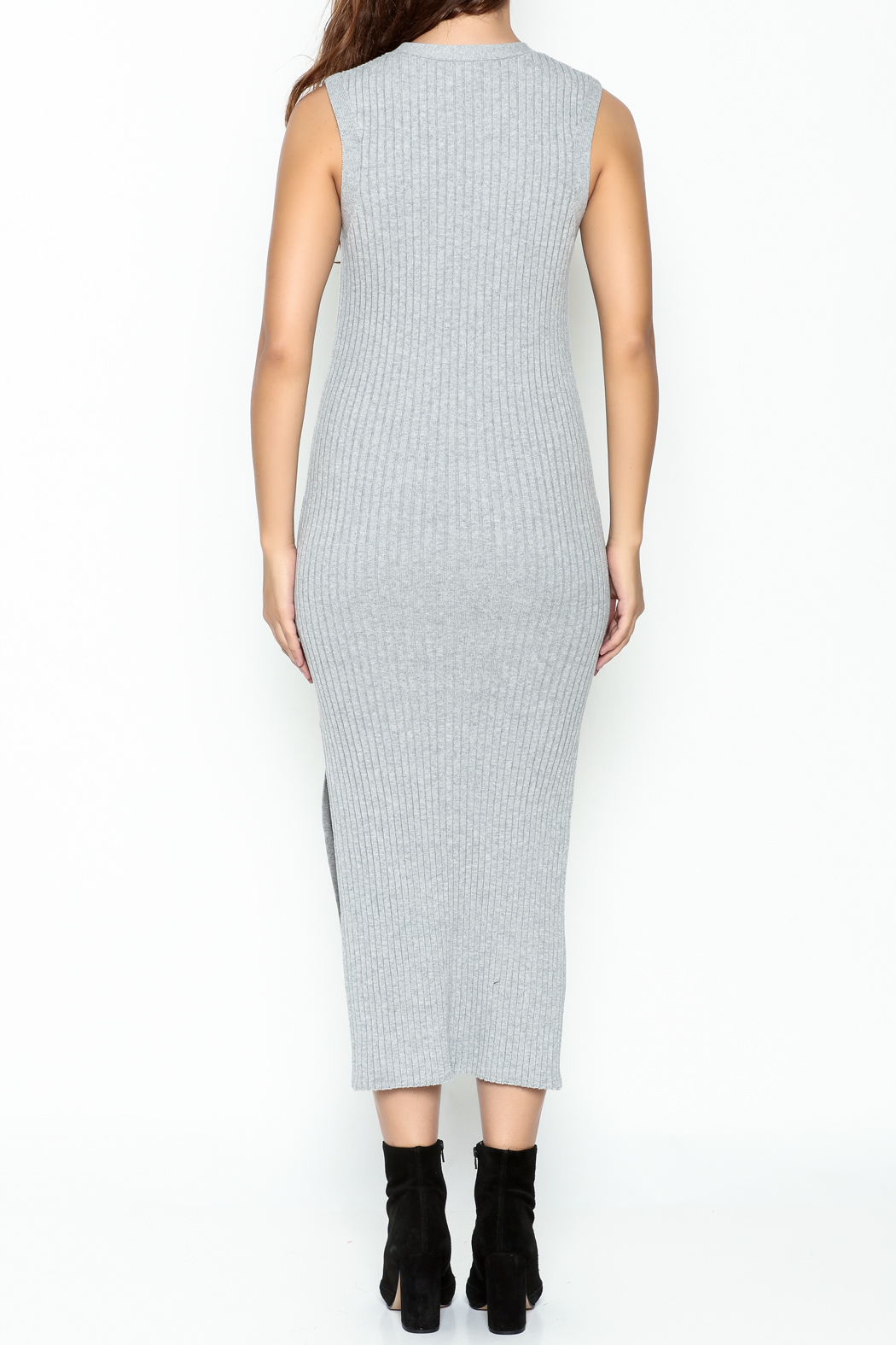 FRAME Denim Grey Ribbed Dress - Back Cropped Image