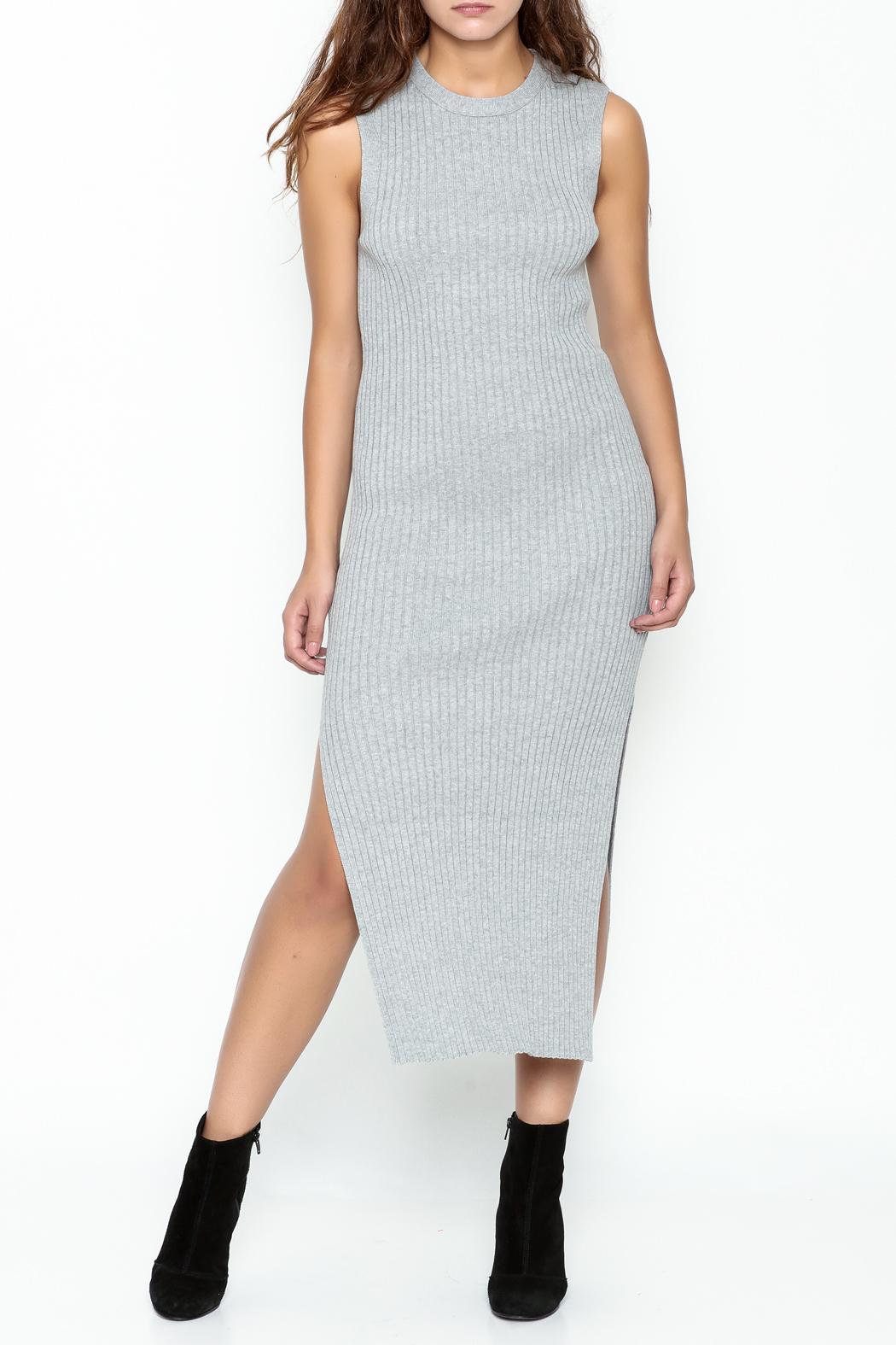 FRAME Denim Grey Ribbed Dress - Main Image
