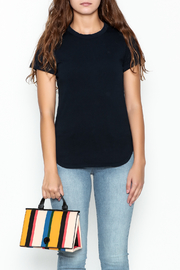 FRAME Denim Navy Ringer Tee - Front full body